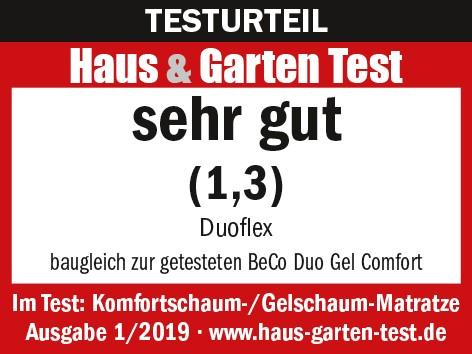 Test sehr gut Beco Matratze Duoflex